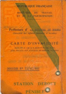carte d'invalidité recto